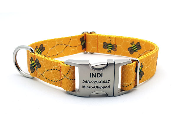 Busy Bees Polyester Webbing Dog Collar with Laser Engraved Personalized Buckle