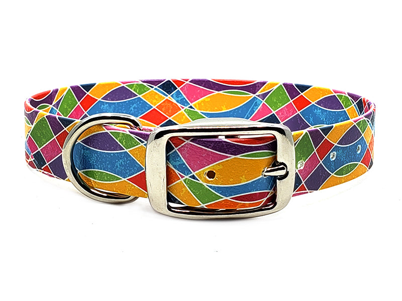 Colorful Waves Waterproof Collar