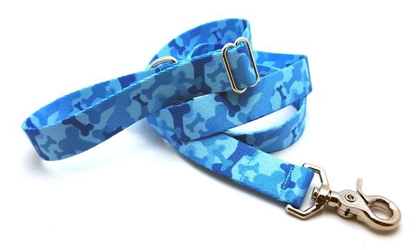 Camo Bone Blue Polyester Adjustable Handle Leash