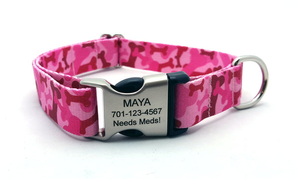 Camo Bones Polyester Webbing Dog Collar with Laser Engraved Personalized Buckle - Flying Dog Collars