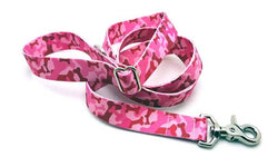 Camo Bones Pink Polyester Adjustable Handle Leash
