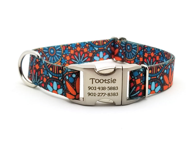 Orange Boho Mandala Polyester Webbing Dog Collar with Laser Engraved Personalized Buckle - Flying Dog Collars