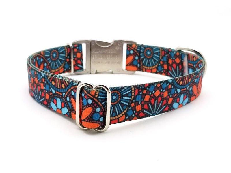 Orange Boho Mandala Polyester Webbing Dog Collar with Laser Engraved Personalized Buckle