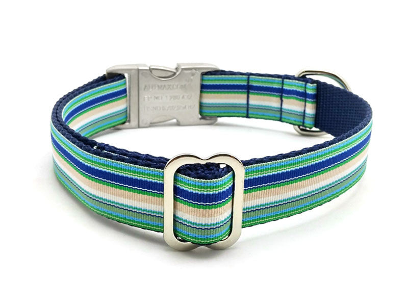 Coastal Cabana Dog Collar with Laser Engraved Personalized Buckle - Flying Dog Collars