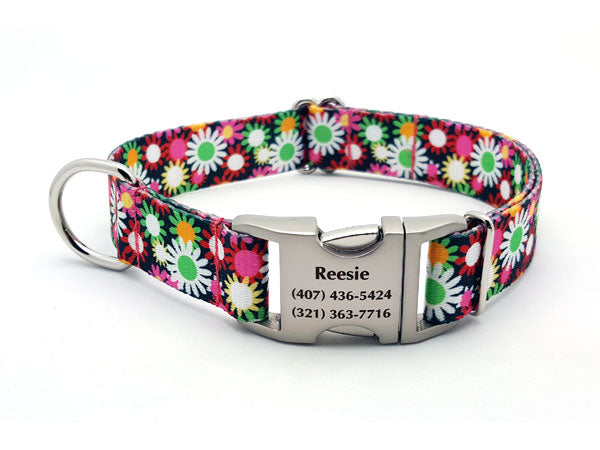 Daisy Field Polyester Webbing Dog Collar with Laser Engraved Personalized Buckle