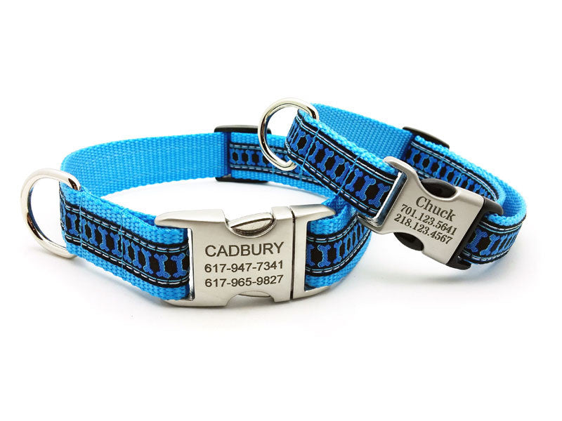 Illusion Bones Dog Collar with Personalized Buckle