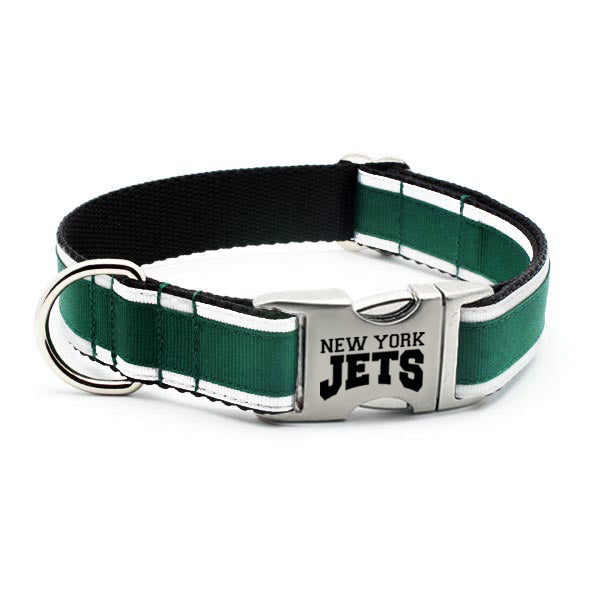 New York Jets Dog Collar with Laser Etched Aluminum Buckle