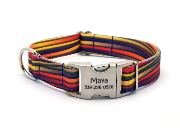 Mellow Waves Polyester Webbing Dog Collar with Laser Engraved Personalized Buckle