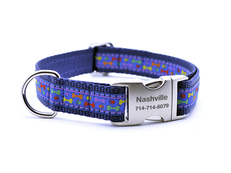 Multi Colored Bones/Paws Dog Collar with Personalized Buckle