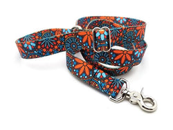 Orange Boho Mandala Adjustable Handle Leash