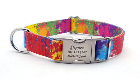 Paint Splatter Polyester Webbing Dog Collar with Laser Engraved Personalized Buckle