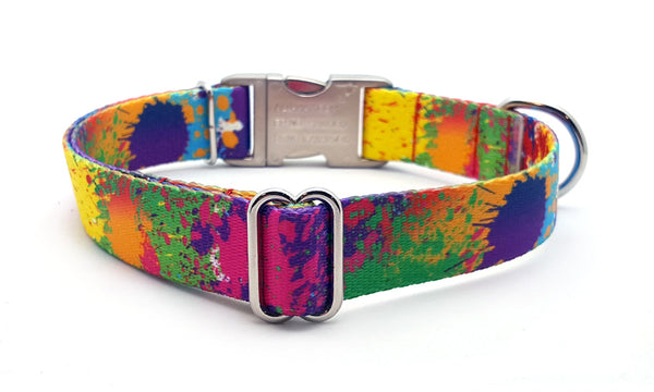 Paint Splatter Polyester Webbing Dog Collar with Laser Engraved Personalized Buckle - Flying Dog Collars