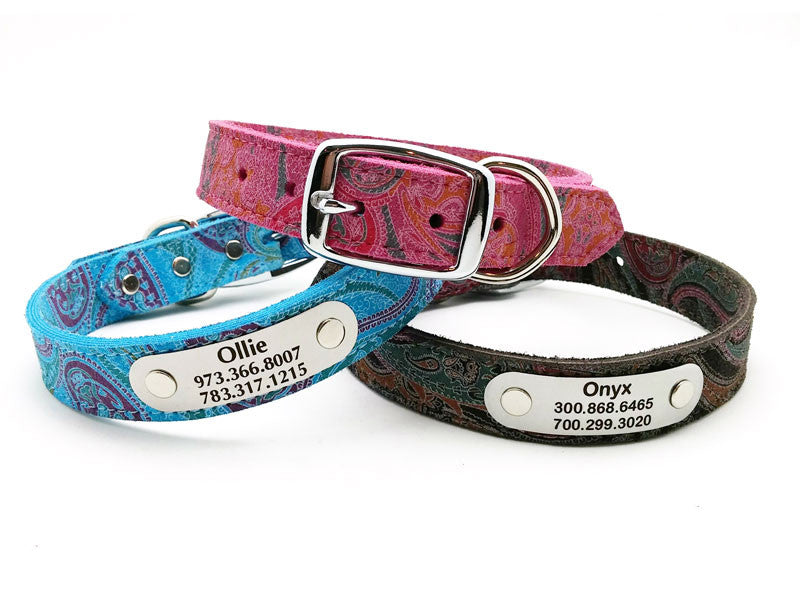 Paisley Suede Leather Dog Collar with Laser Engraved Personalized Nameplate - Flying Dog Collars