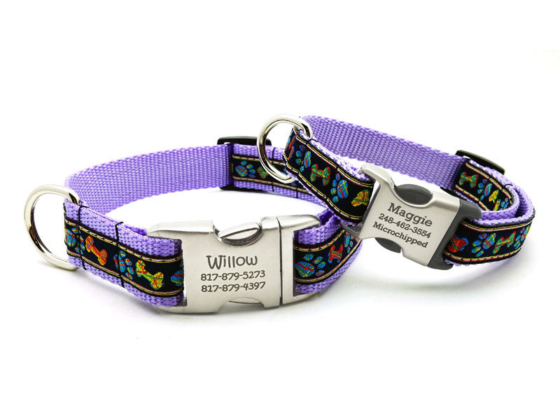 Plaid Paws & Bones Dog Collar with Personalized Buckle