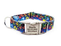 Potpourri Polyester Webbing Dog Collar with Laser Engraved Personalized Buckle - Flying Dog Collars