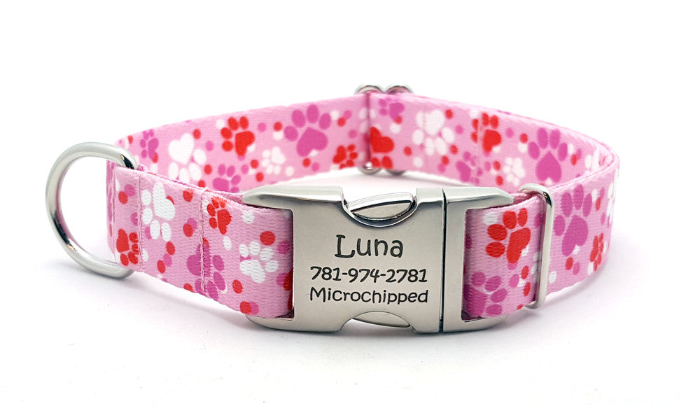 Puppy Love Polyester Webbing Dog Collar with Laser Engraved Personalized Buckle