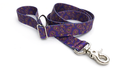 Purple Paisley Adjustable Handle Leash
