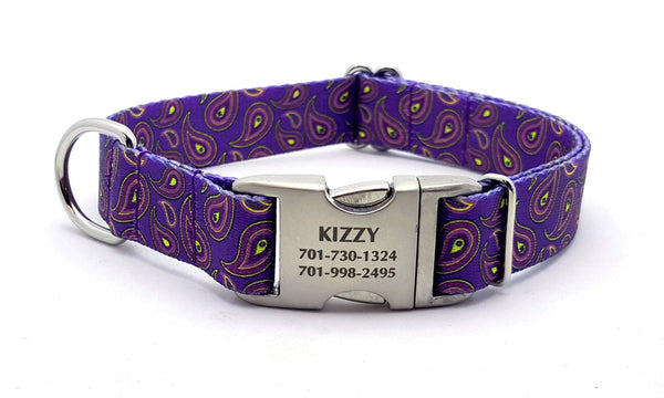 Purple Paisley Polyester Webbing Dog Collar with Laser Engraved Personalized Buckle - Flying Dog Collars