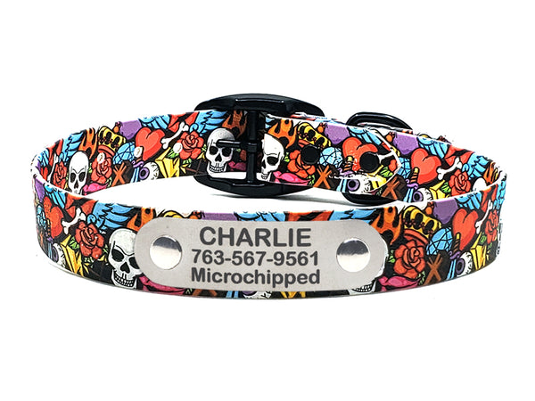 Rock n Roll Skulls Waterproof Collar