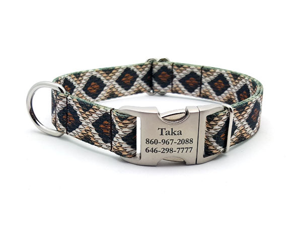 Rattlesnake Polyester Webbing Dog Collar with Laser Engraved Personalized Buckle