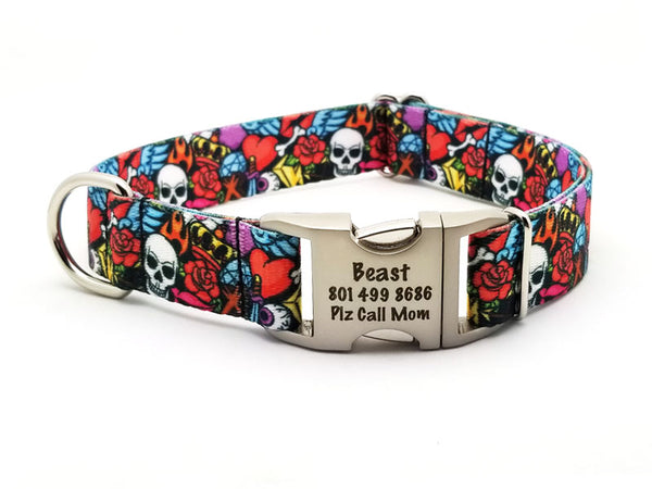 Rock n Roll Tattoo Polyester Webbing Dog Collar with Laser Engraved Personalized Buckle