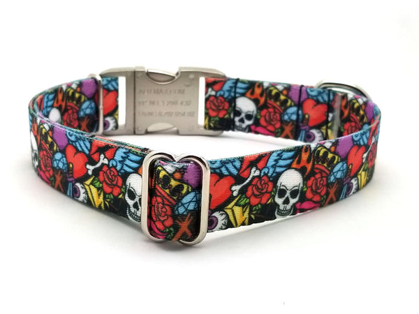 Rock n Roll Tattoo Polyester Webbing Dog Collar with Laser Engraved Personalized Buckle - Flying Dog Collars