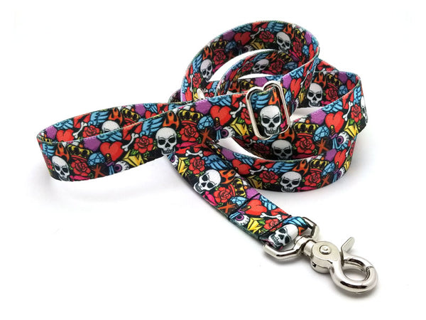 Rock N Roll Tattoo Adjustable Handle Leash