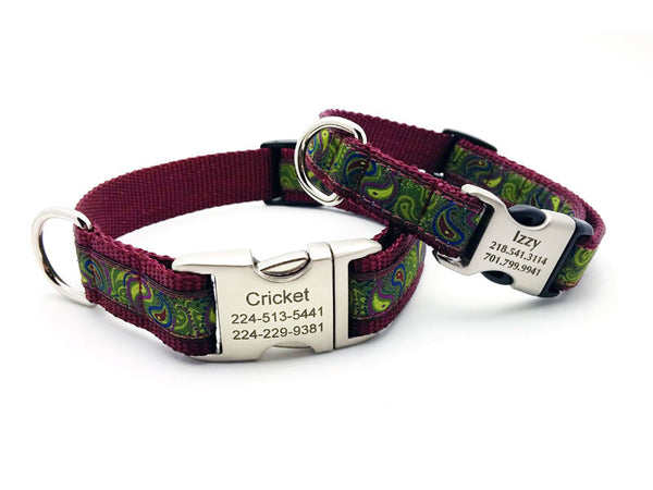 Dark Paisley Dog Collar with Personalized Buckle - Flying Dog Collars