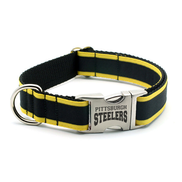 Pittsburgh Steelers Dog Collar with Laser Etched Aluminum Buckle - Flying Dog Collars
