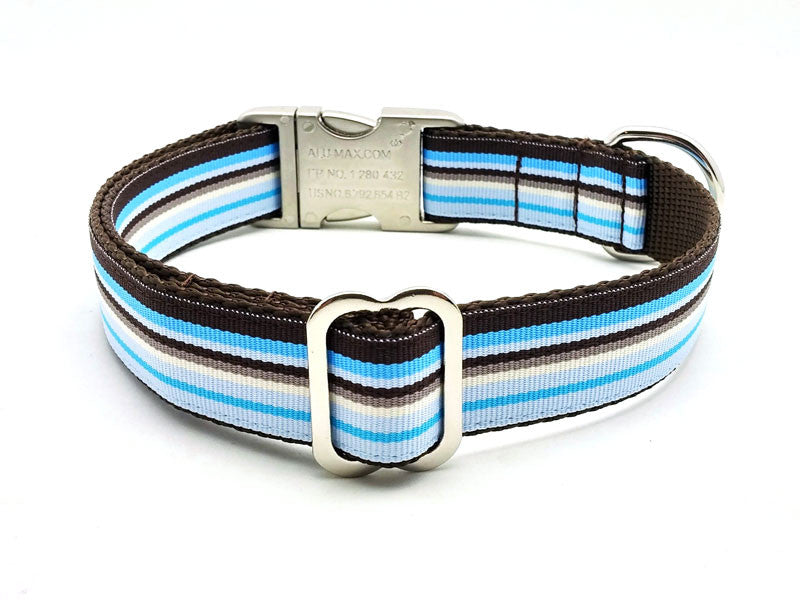 Sand and Sea Dog Collar with Laser Engraved Personalized Buckle - Flying Dog Collars