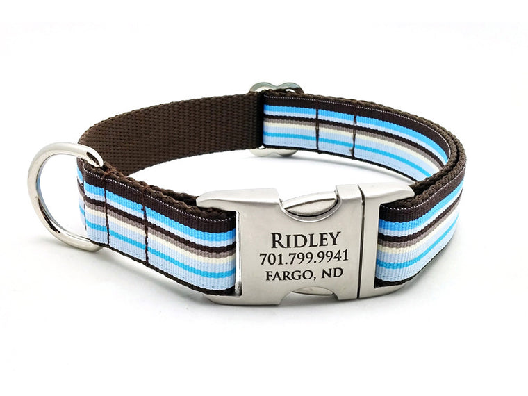 Sand and Sea Dog Collar with Laser Engraved Personalized Buckle