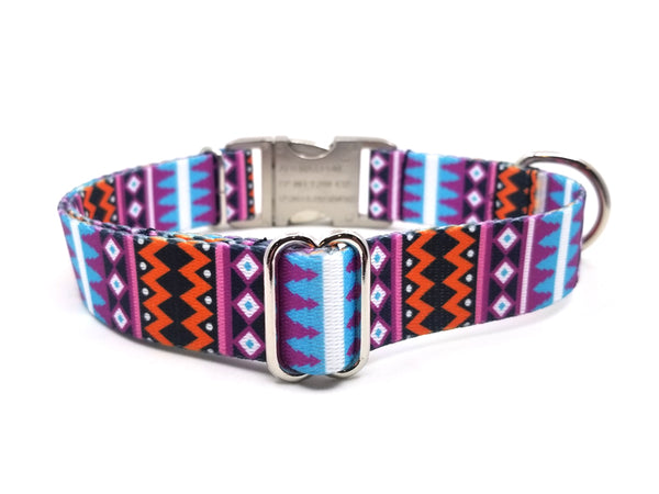 Santa Fe Polyester Webbing Dog Collar with Laser Engraved Personalized Buckle - Flying Dog Collars