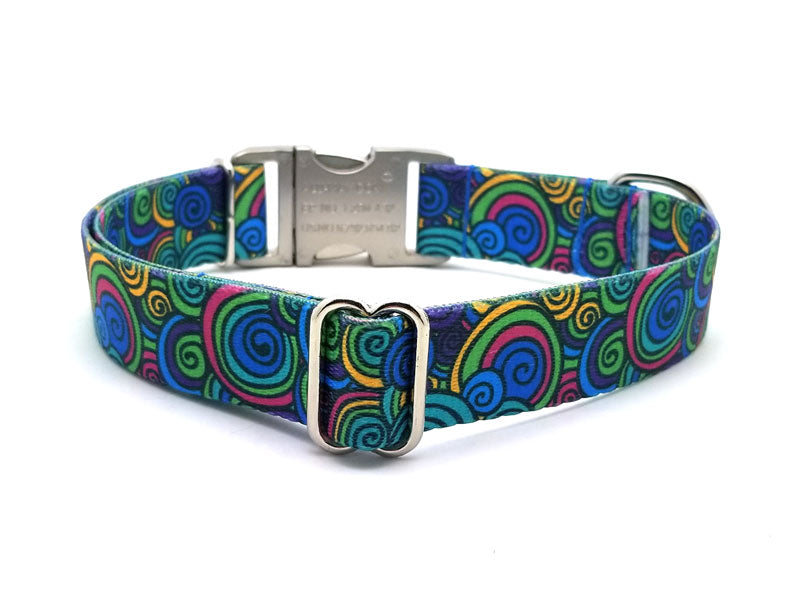 Scribble Swirls Polyester Webbing Dog Collar with Laser Engraved Personalized Buckle