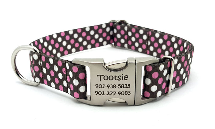 Shibuya Polyester Webbing Dog Collar with Laser Engraved Personalized Buckle