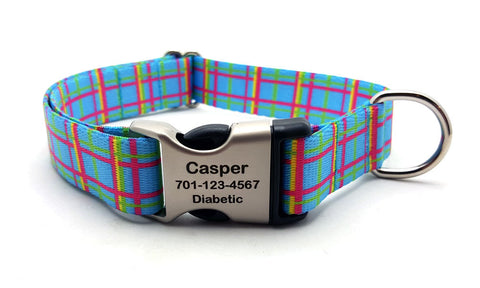 Spring Plaid Polyester Webbing Dog Collar with Laser Engraved Personalized Buckle