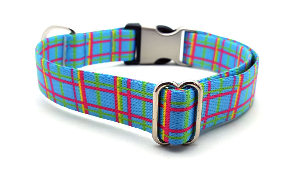 Spring Plaid Polyester Webbing Dog Collar with Laser Engraved Personalized Buckle - BLUE - Flying Dog Collars