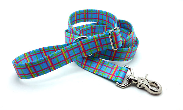 Spring Plaid Blue Adjustable Handle Leash