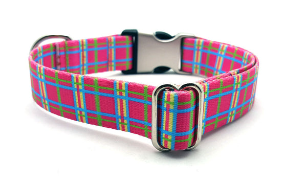 Spring Plaid Polyester Webbing Dog Collar with Laser Engraved Personalized Buckle - PINK - Flying Dog Collars