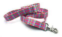 Spring Plaid Pink Adjustable Handle Leash
