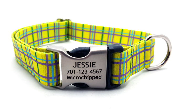 Spring Plaid Polyester Webbing Dog Collar with Laser Engraved Personalized Buckle - YELLOW