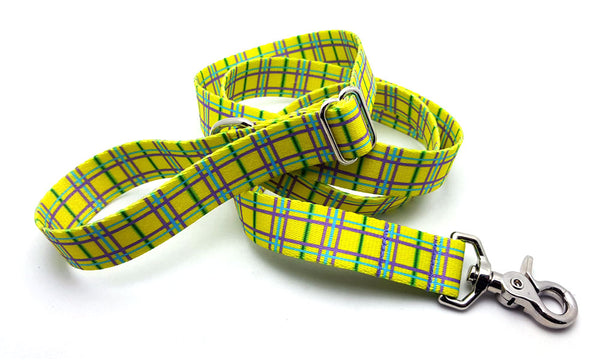 Spring Plaid Yellow Adjustable Handle Leash