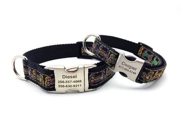 Stitched Bones Dog Collar with Personalized Buckle - Flying Dog Collars