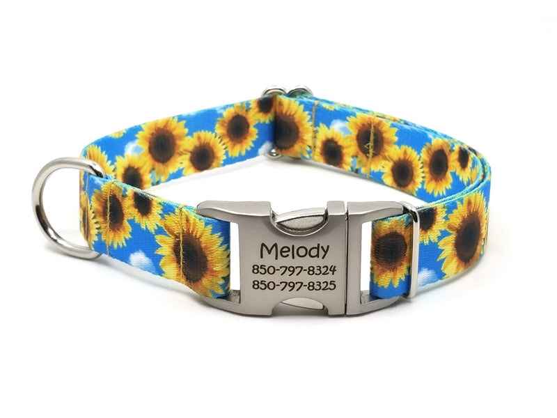 Sunflowers Polyester Webbing Dog Collar with Laser Engraved Personalized Buckle - Flying Dog Collars