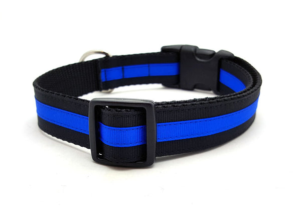 Layered Stripe Dog Collar with Laser Engraved Personalized Buckle - THIN BLUE LINE