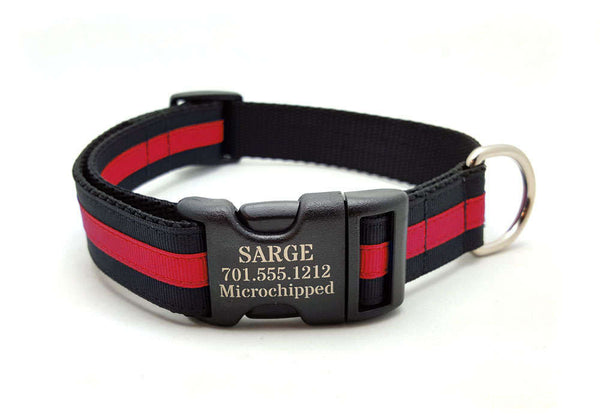 Layered Stripe Dog Collar with Laser Engraved Personalized Buckle - THIN RED LINE
