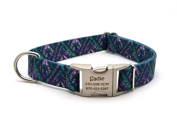 Tribal Chevron Polyester Webbing Dog Collar with Laser Engraved Personalized Buckle