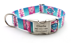 Albuquerque Polyester Webbing Dog Collar with Laser Engraved Personalized Buckle - Flying Dog Collars