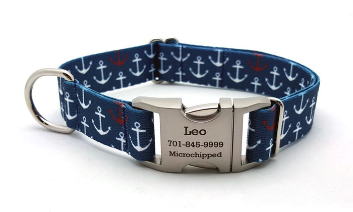 Anchors Away Webbing Dog Collar with Laser Engraved Personalized Buckle