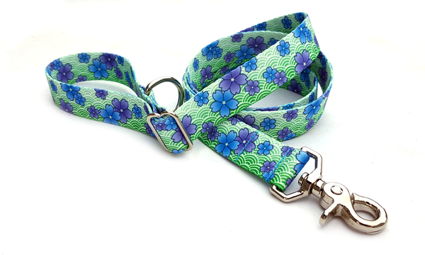 April Blossoms Blue Polyester Adjustable Handle Leash