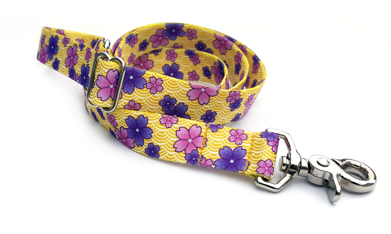 April Blossoms Purple Polyester Adjustable Handle Leash